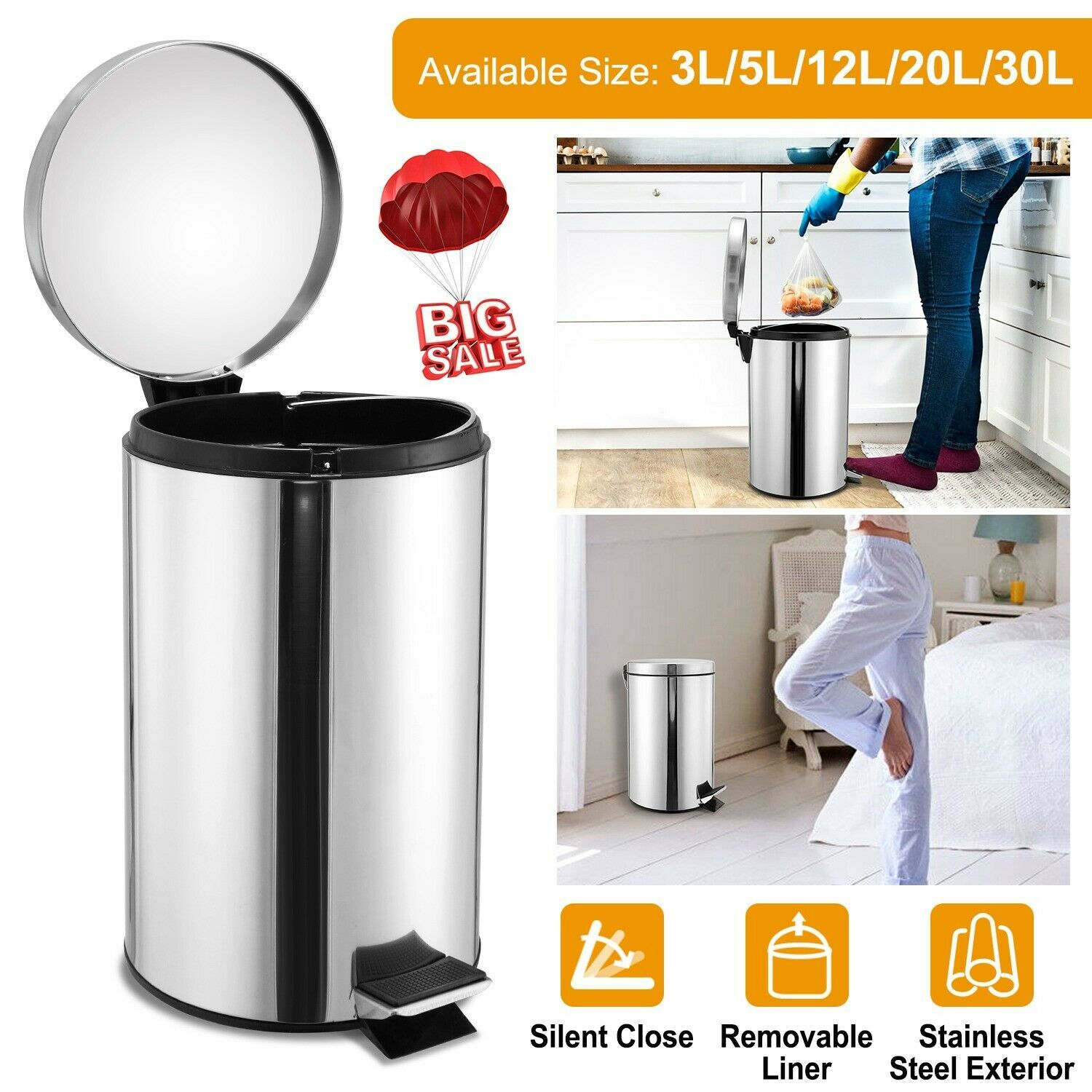 Step Garbage Bin Trash Can Lid Kitchen Office Round Stainless Steel Dustbin Us Trash Cans Ideas Of Trash Cans Tra Trash Cans Trash Can Kitchen Trash Cans