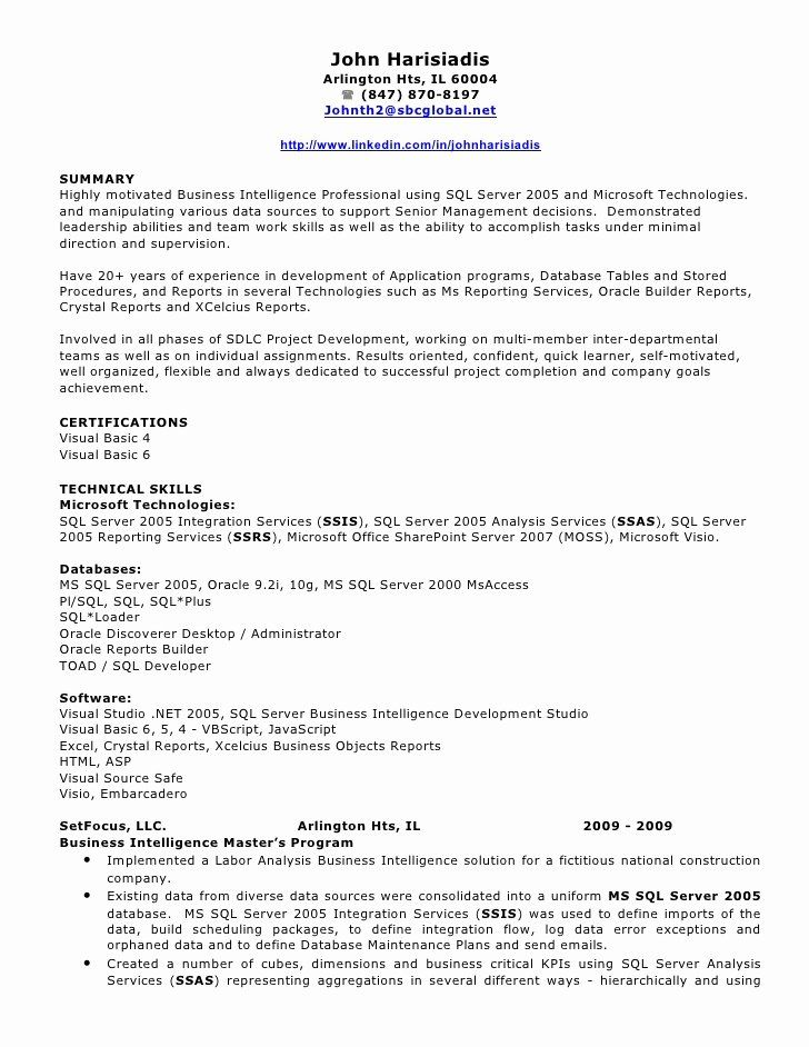 Business Intelligence Developer Resume Elegant John
