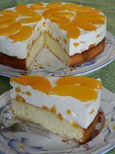 Pfirsich - Joghurt Torte mit Vanillehauch #recipeforpuffpastry