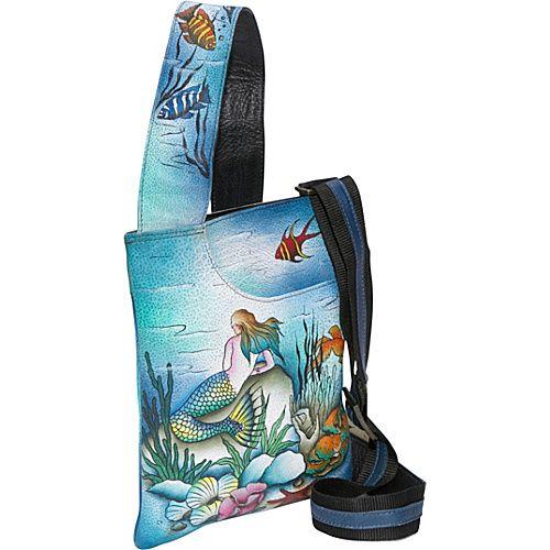 Anuschka Slim Cross Shoulder Bag- Little Mermaid