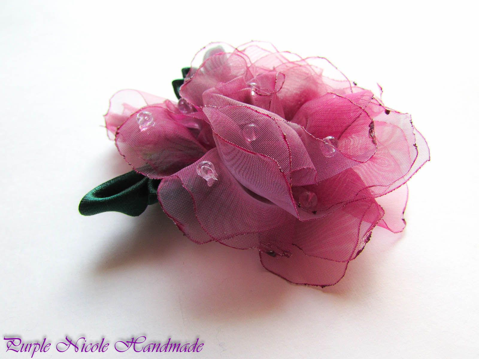 Morning Dew - Handmade Floral Broach by Purple Nicole (Nicole Cea Mov), colored handmade organza rose with satin leaves.