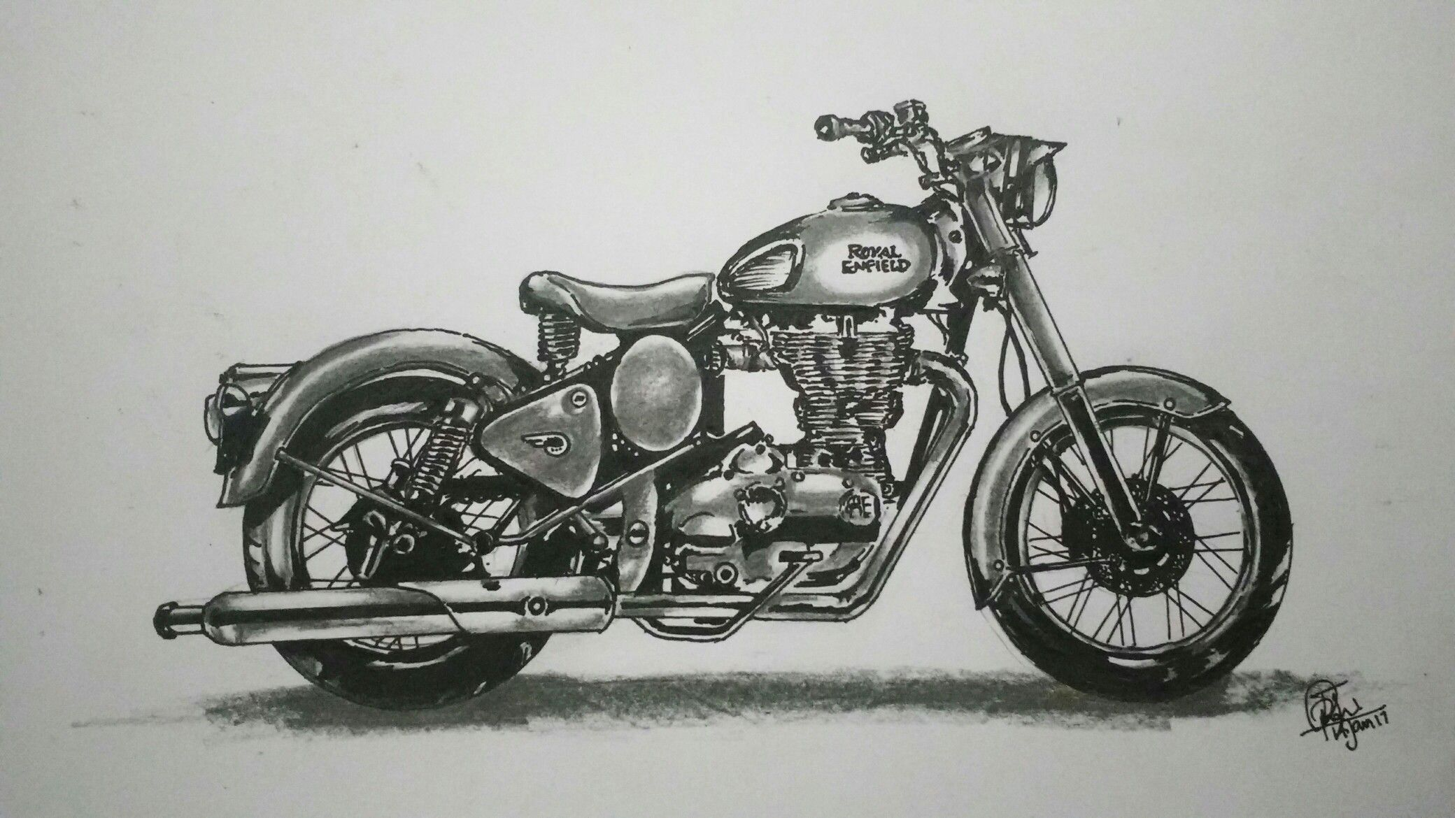 Royalenfield Drawing Sketches Bike Sketch Sketches
