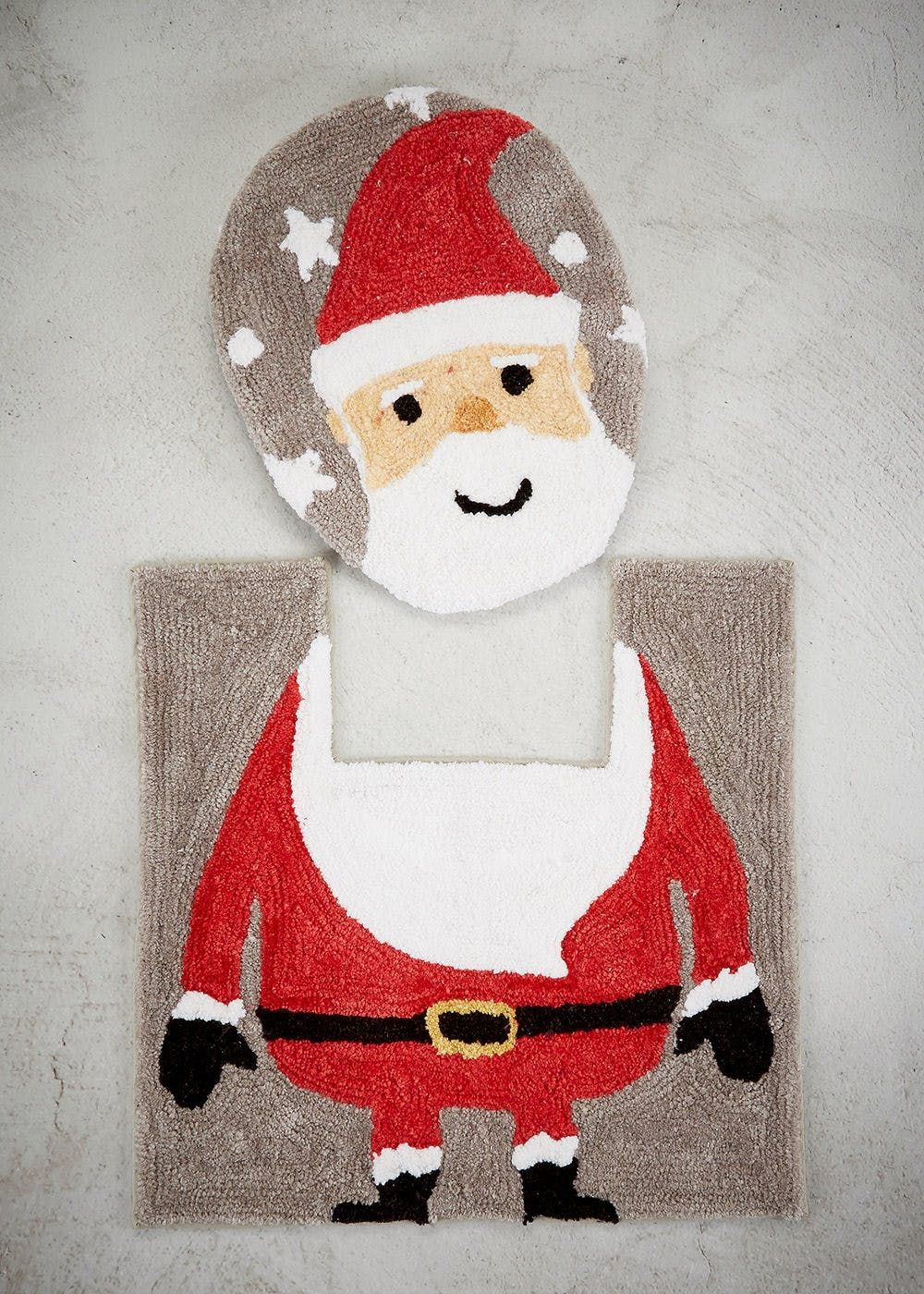 Add Christmas Fun To Your Bathroom With This Santa Toilet Seat Cover And Pedestal Mat Set