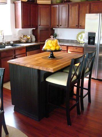 Black Beadboard With Wood Top Island Kitchen Remodel Beautiful