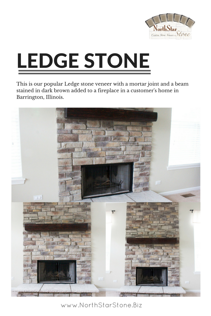 This Is Our Popular Ledge Stone Veneer With A Mortar Joint And A Beam Stained In Dark Brown Added To A Fireplace In A Custome Stone Veneer Fireplace Ledgestone