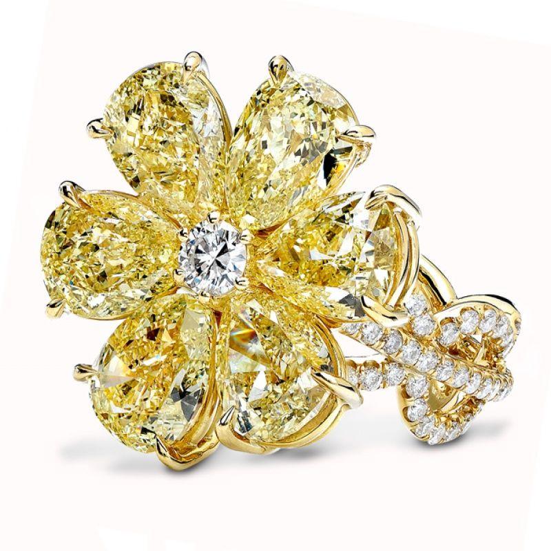 Rahaminov Diamonds' fancy yellow flower ring