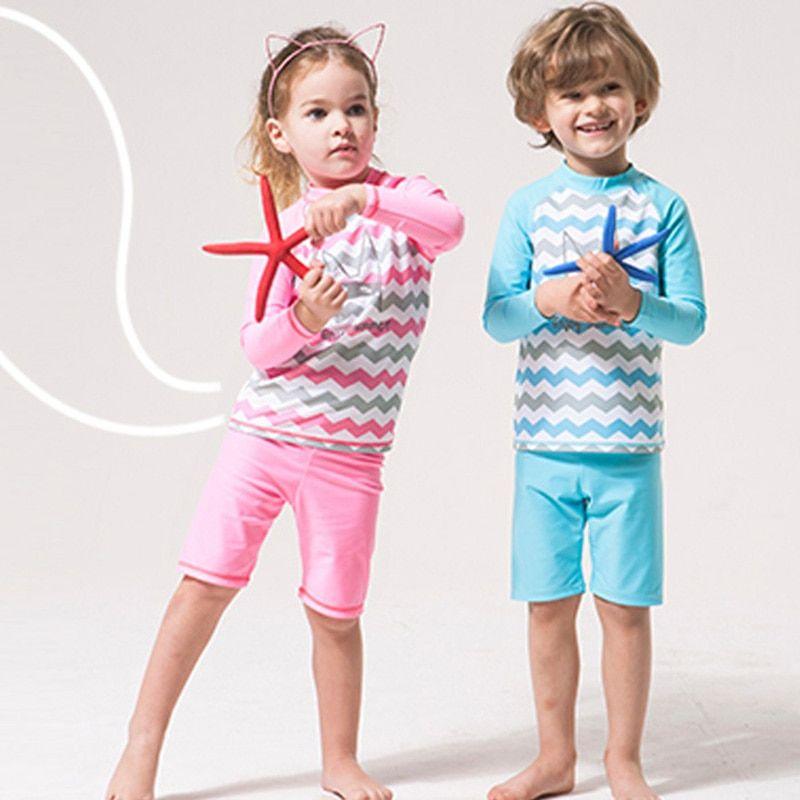 9b01deb3fc8 2018 Long Sleeve (UPF50+) Girls Boy Swimsuit Child Kids Swimming Suit Baby  Swimwear Boys Beach Surf Wear Swim Pants 2-15Years