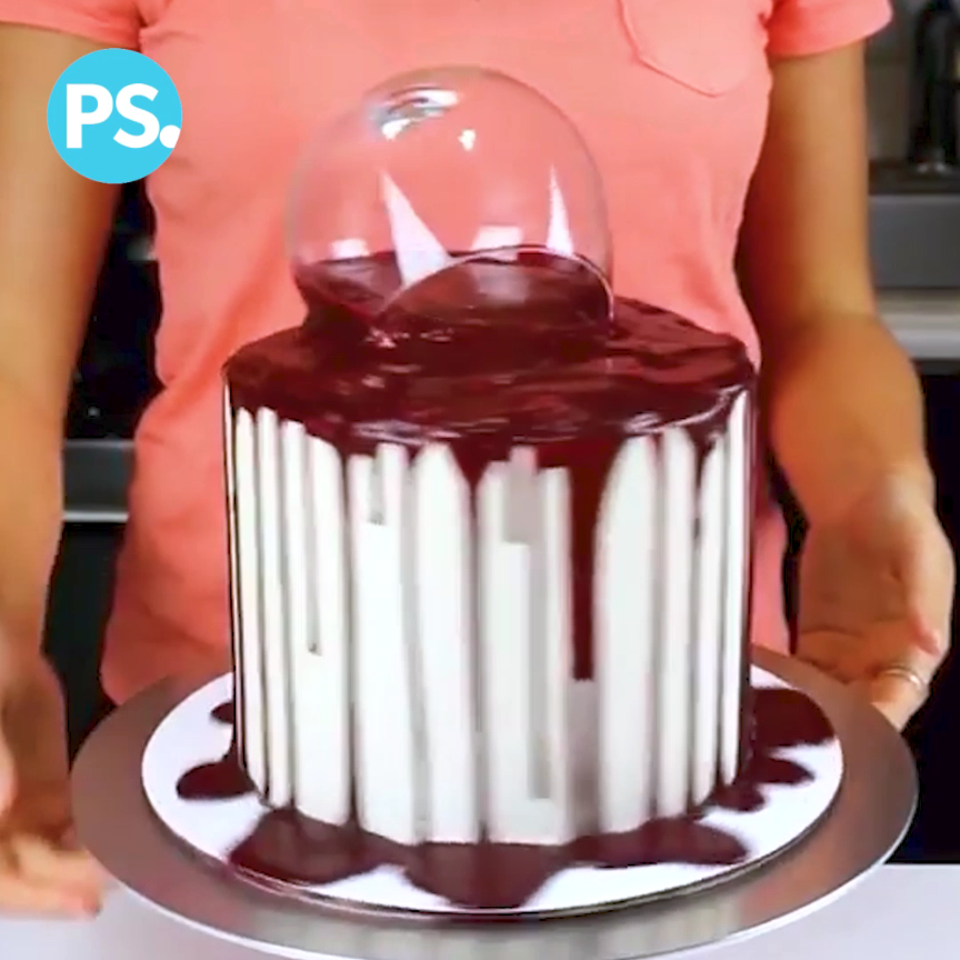 """"""" Glas Wine Cake Literally. Food Video In"""