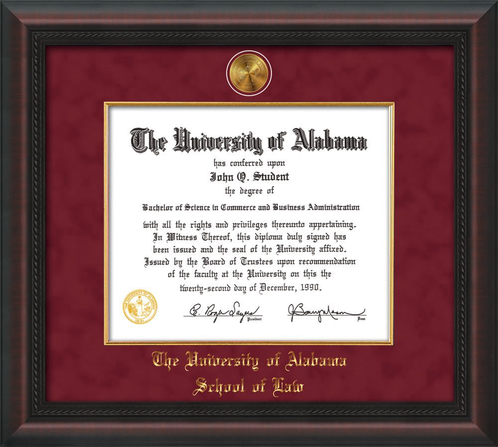 U of Alabama Diploma Frame-Mahogan Braid-w/UA Fillet-LAW-Crimson ...