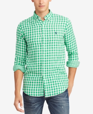dab9aeed5 Polo Ralph Lauren Men s Classic Fit Double-Faced Gingham Shirt - Stem Green  XL