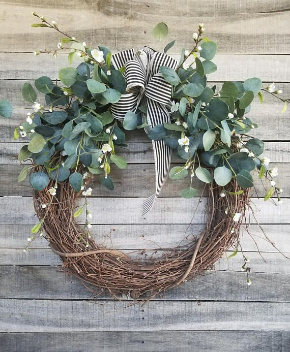 """Photo of 26 """"eucalyptus wreath with a hint of small white floral wreath for that great …"""