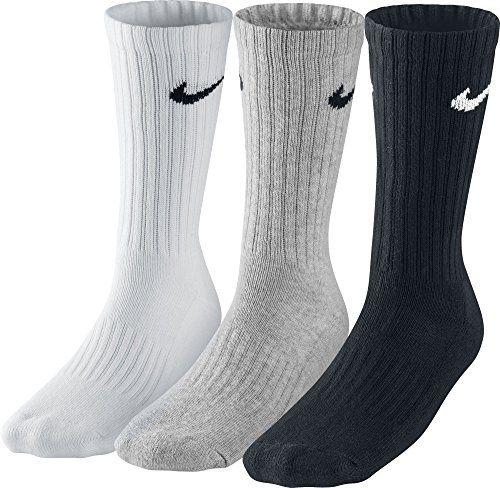 on sale d556d b8ee9 Nike 3PPK Value Cotton Crew - Calcetines unisex, color gris negro blanco,  talla L 42-46