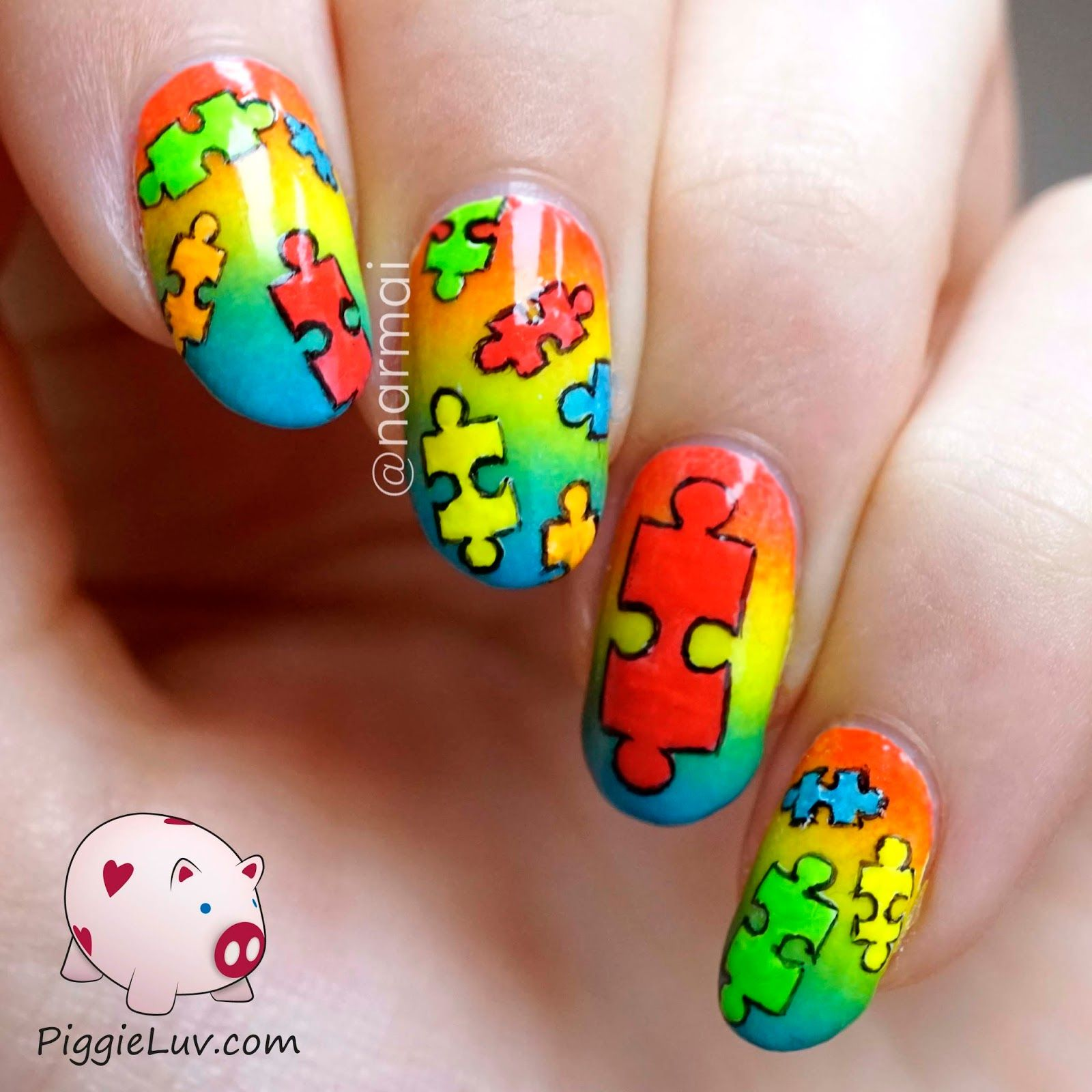 Autism awareness nail art autism pink nails and beautiful nail autism awareness nail art prinsesfo Images