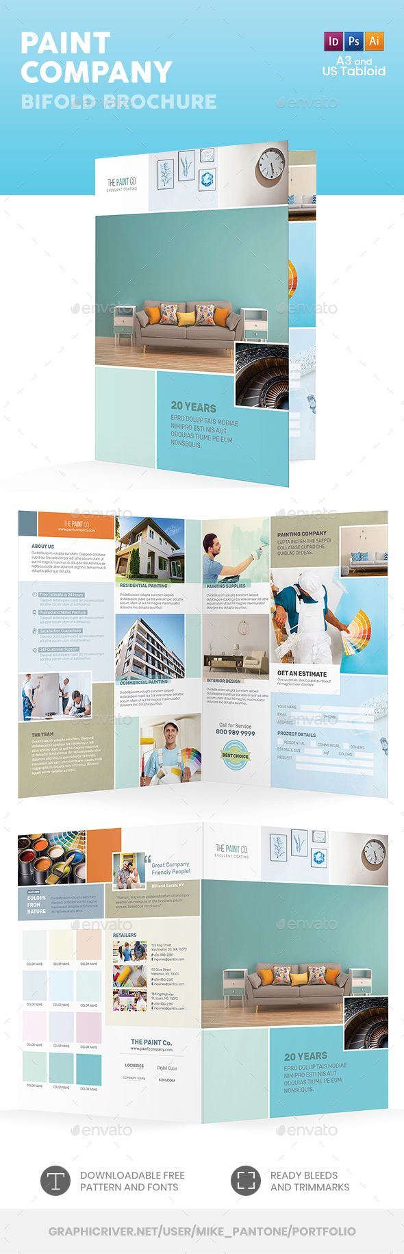 paint company bifold halffold brochure informational