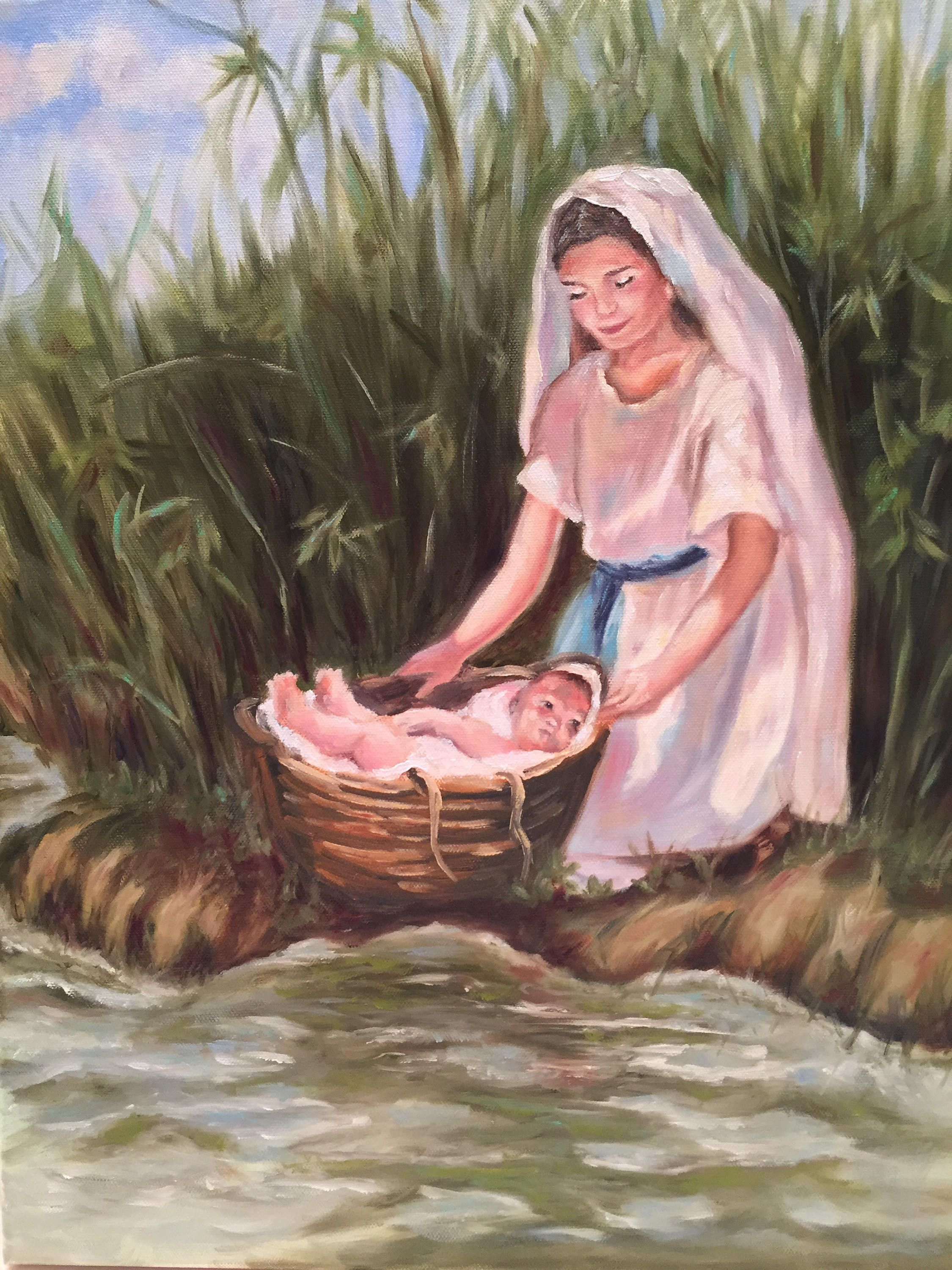 Moses And Miriam In The Bullrushes Biblical Art Baby In A Basket Sunday School Bible Story