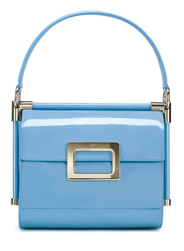 Miss Viv small blue patent-leather top-handle frame handbag ($2,550), Roger Vivier