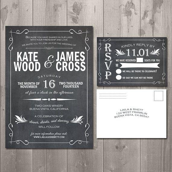 Diy Chalkboard Wedding Invitations: Rustic Wedding Suite