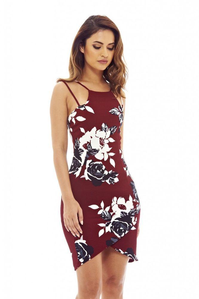 3803814e53 Details about AX Paris Womens Mini Dress Bodycon Burgundy Red Floral ...
