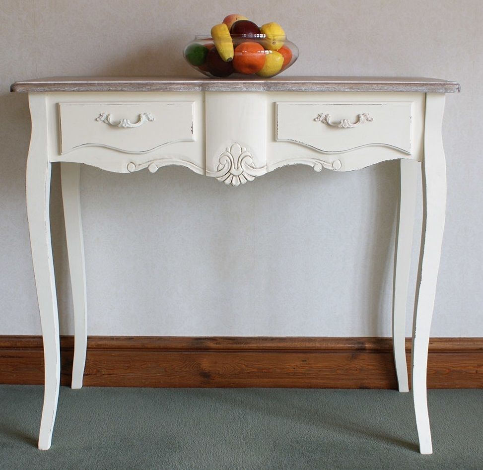 Wooden Console Table White Hall Entryway Hallway Drawers Storage