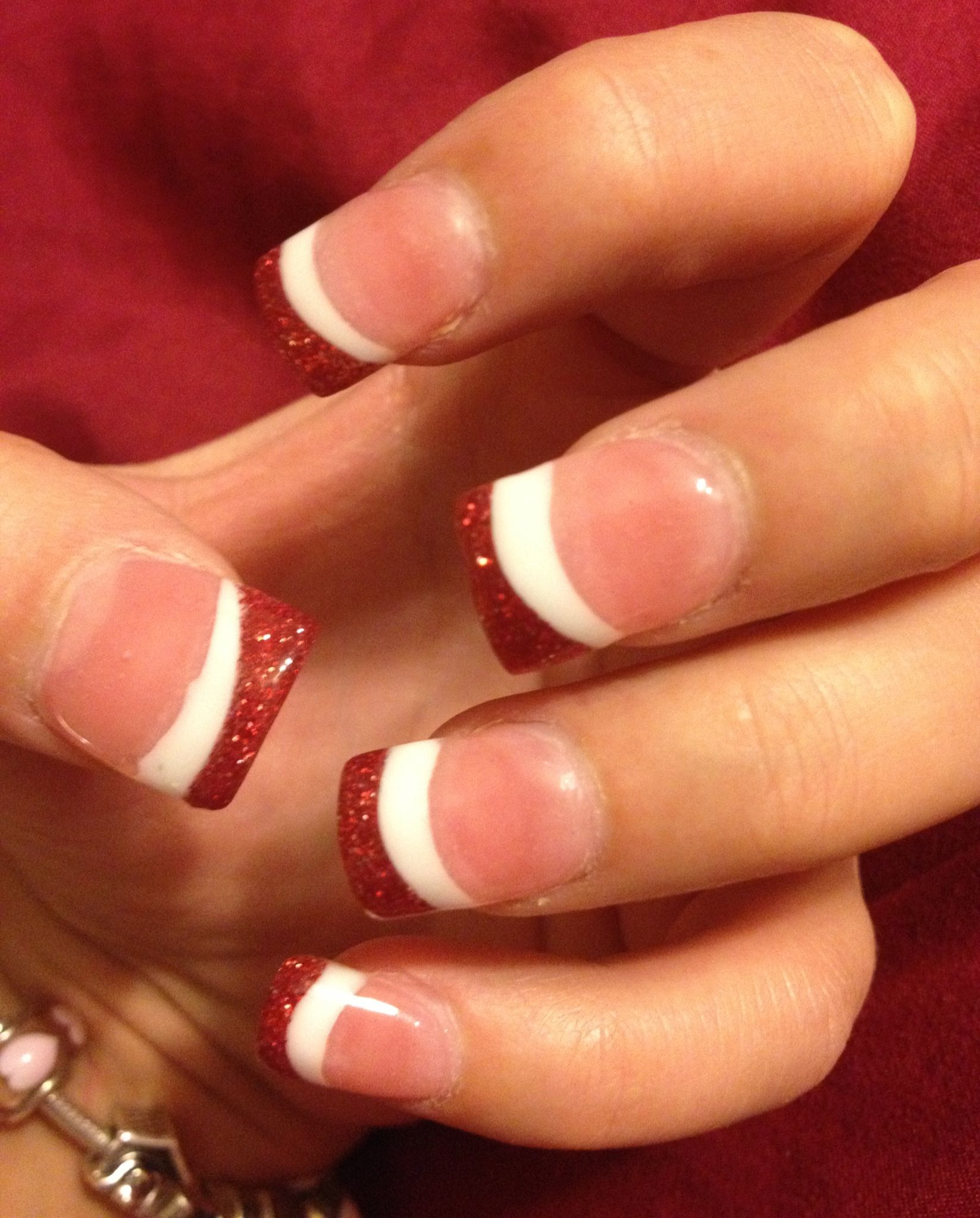 Valentines Day Nails- Gel Nails With White And Glittery