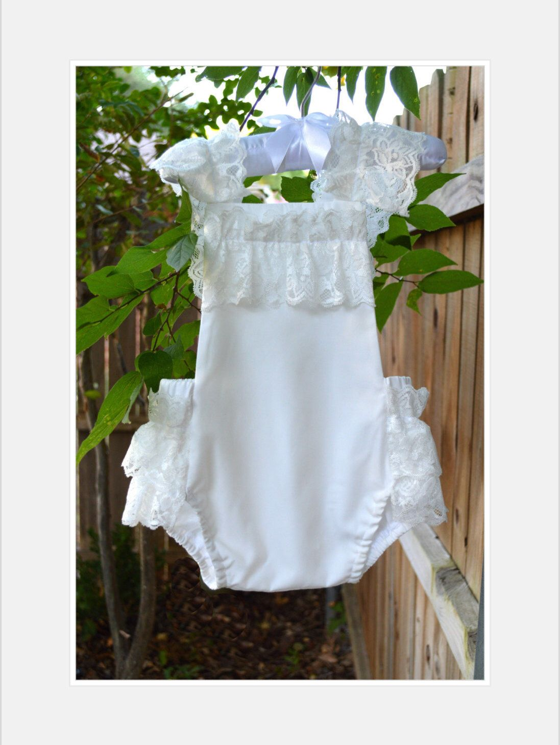8baf9a3bbdd0 White   Cream   Off White   Ivory   Lace   Ruffle Trim   Baby Romper    Playsuit by HeyBabyApparel on Etsy ...