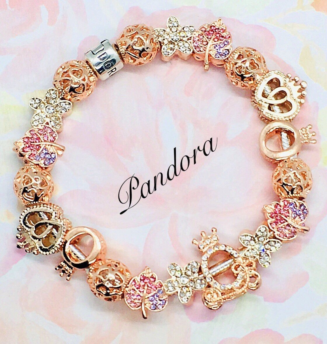 Authentic Pandora Sterling Sliver Bracelet Stamped S925 Ale Inside The Clasp Designed Rose Gold F Pandora Jewelry Pandora Jewelry Bracelets Pandora Bracelets