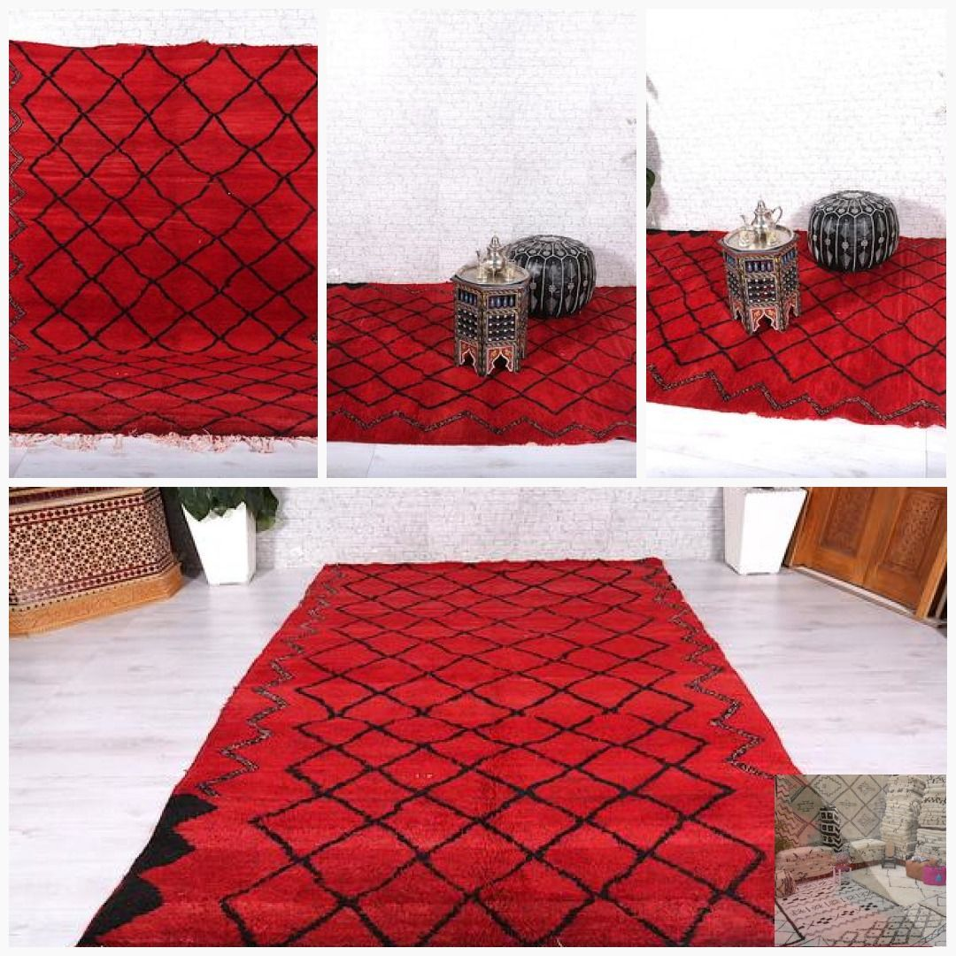 Authentic Berber Azilal Rug 6 9ft X 10ft Red Carpet Wallhanging Beniourain Bohemianrug Beniourainrug Flo Vintage Moroccan Rugs Beautiful Rug Luxury Rug