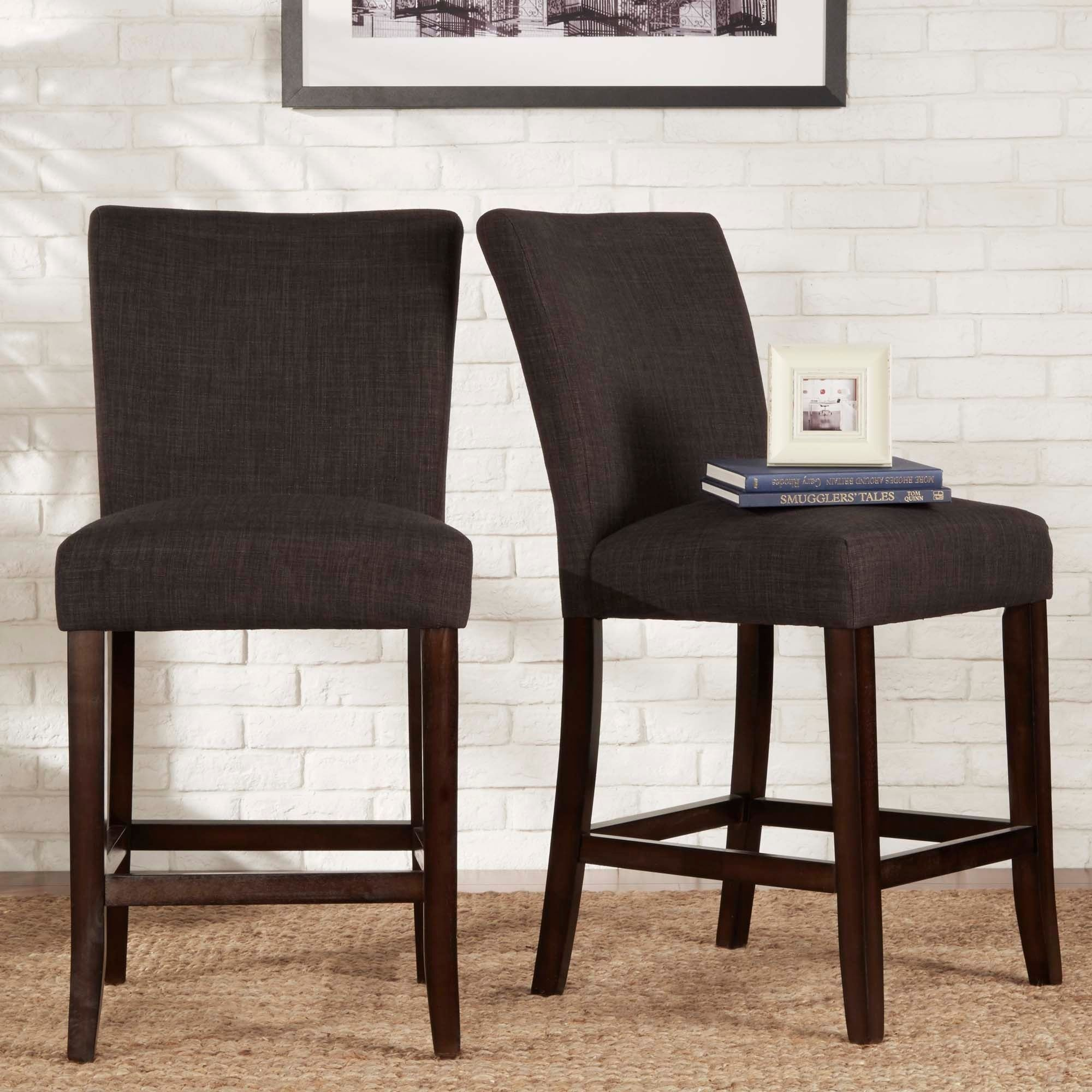 Tribecca Home Parson Classic Linen Counter Height Chairs (Set Of 2) (Dark  Gray