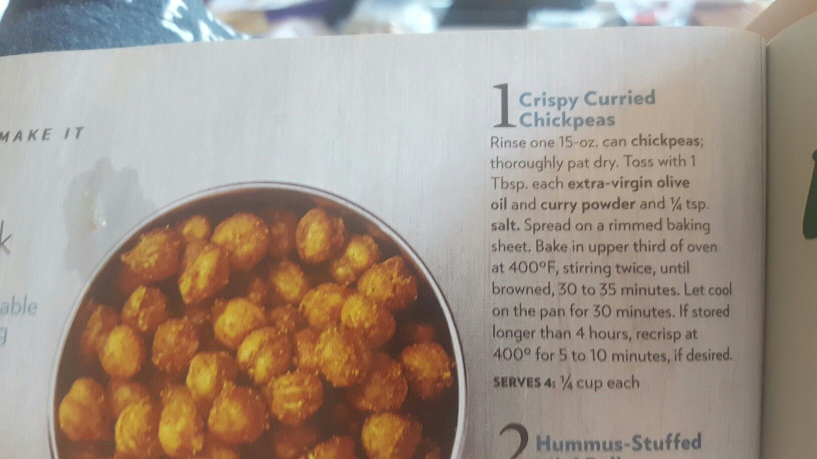 Crispy Curried Chickpeas. Eating Well S/O 2016
