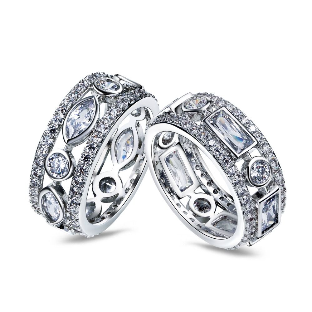 Wedding Ring Latest Design 2 pcs set Rings gold and rhodium plated ...