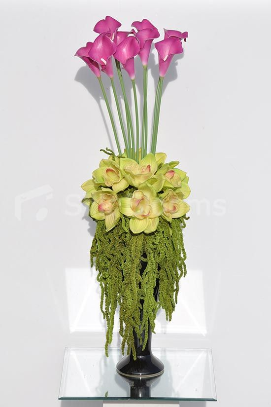 Tall Pink Calla Lilies Preserved Amaranthus Floral Arrangement