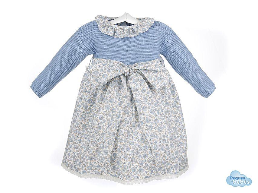 Vestido para beb con el cuerpo tejido en lana en punto - Lanas y punto ...