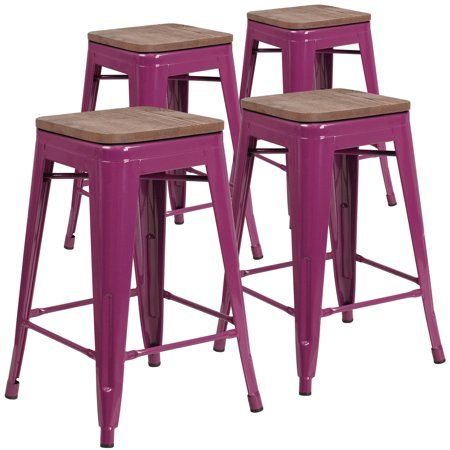 Awesome Flash Furniture 4 Pk 24 Inch High Backless Purple Counter Lamtechconsult Wood Chair Design Ideas Lamtechconsultcom