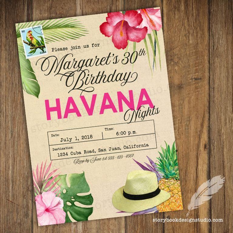 Pink Havana Birthday Party Invitations Drinks