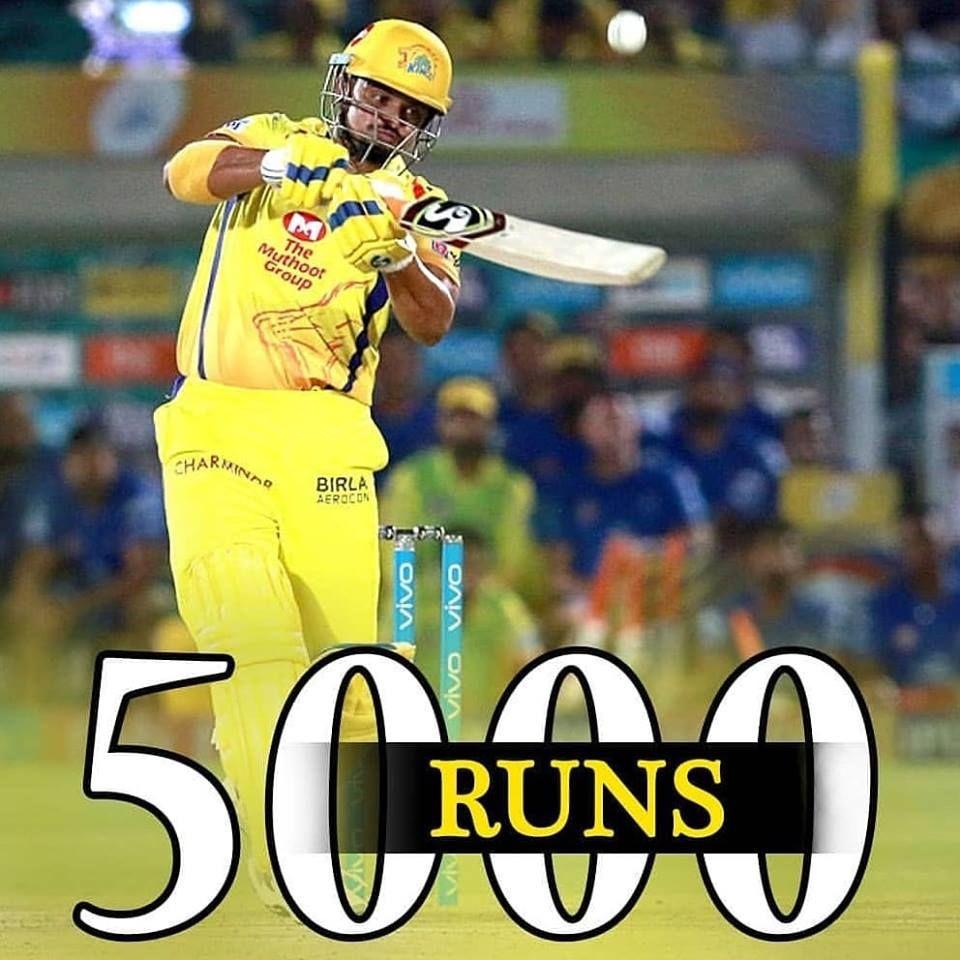Suresh Raina complete 5000 T20 Runs IPL IPL2019 IPLLive