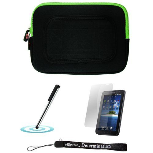 Green/Black Sleeve with Interior Fur Padding for Samsung Galaxy Tablet + Includes a Durable Screen Protector + Includes a 360° Rotatable Windshield Mount by eBigValue. $19.99. Cover Sleeve with Interior Fur Padding for Samsung Galaxy Tablet Protection for your tablet. Comes with two way zipper opening, small accessory pocket inside, and cover edges to keep Galaxy secure. Light weight for hand mobility and scratch resistant. The cover is made to keep your table...