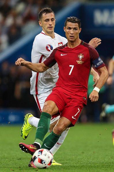 #EURO2016 Cristiano Ronaldo of Portugal controls the ball during a quarter final match between ...
