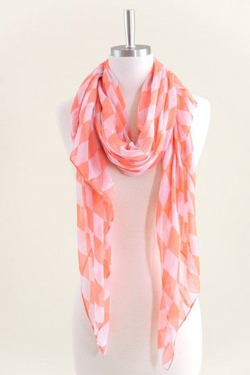 Checker Me Out Scarf-Neon Coral