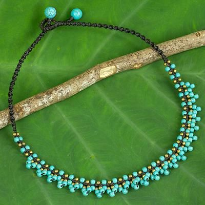 Artisan Crafted Turquoise Color Beaded Necklace - Ocean Horizon | NOVICA