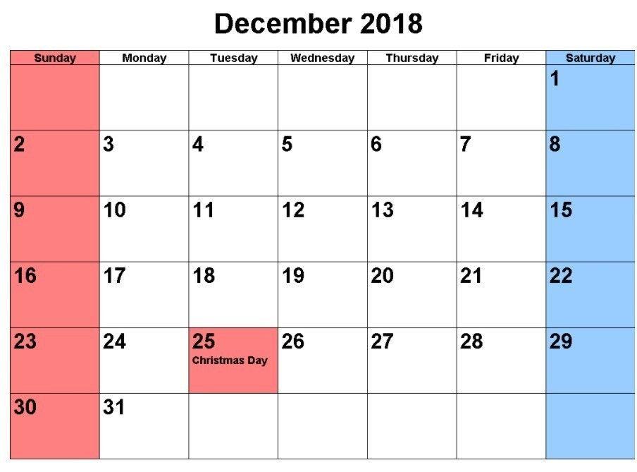 Dec 2018 Calendar With Holidays 2018 Holiday Calendar Holiday