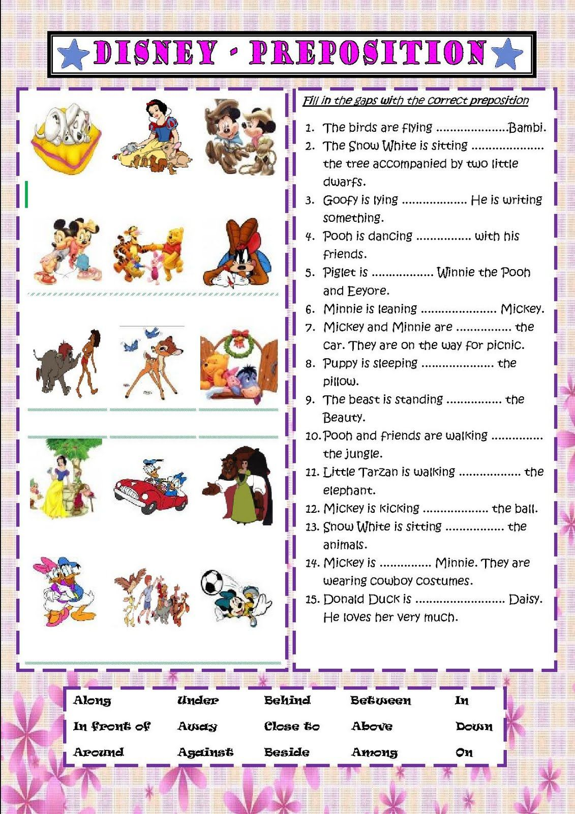 Simple Worksheet Of Preposition Place