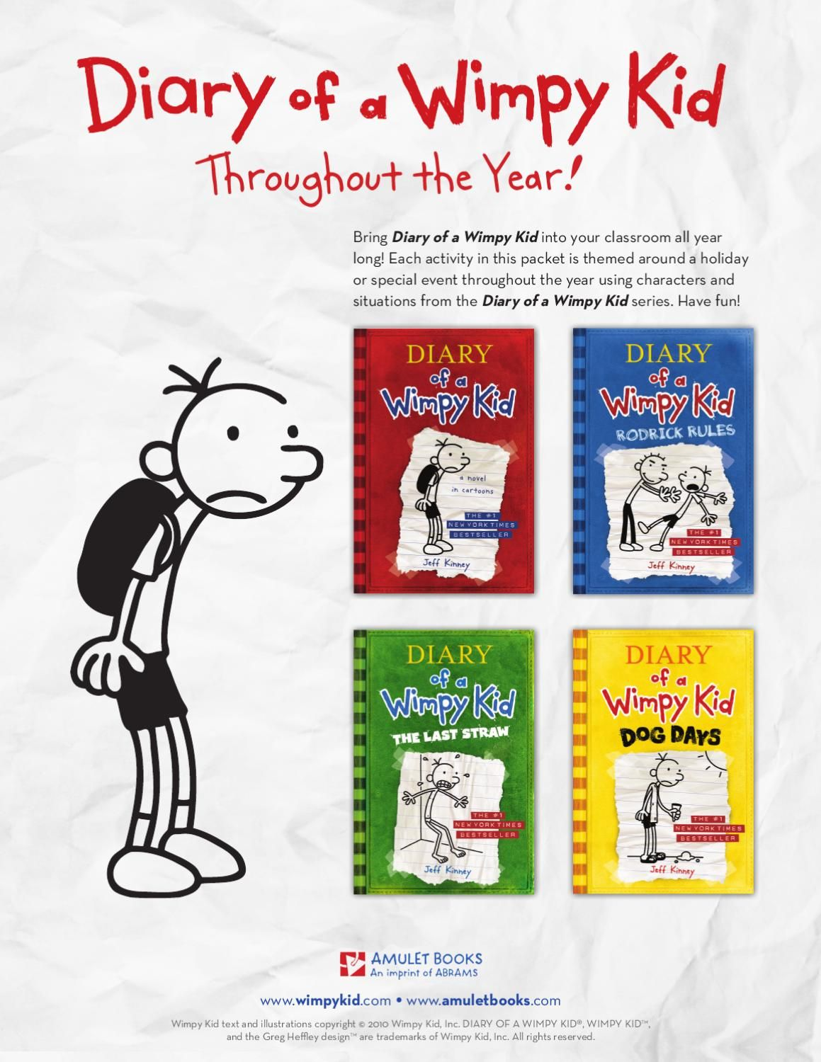 Bring Diary Of A Wimpy Kid Into Your Classroom All Year Long Each Activity In Thispacket Is Themed Around A Holiday Wimpy Kid Wimpy Kid Series Kids Classroom