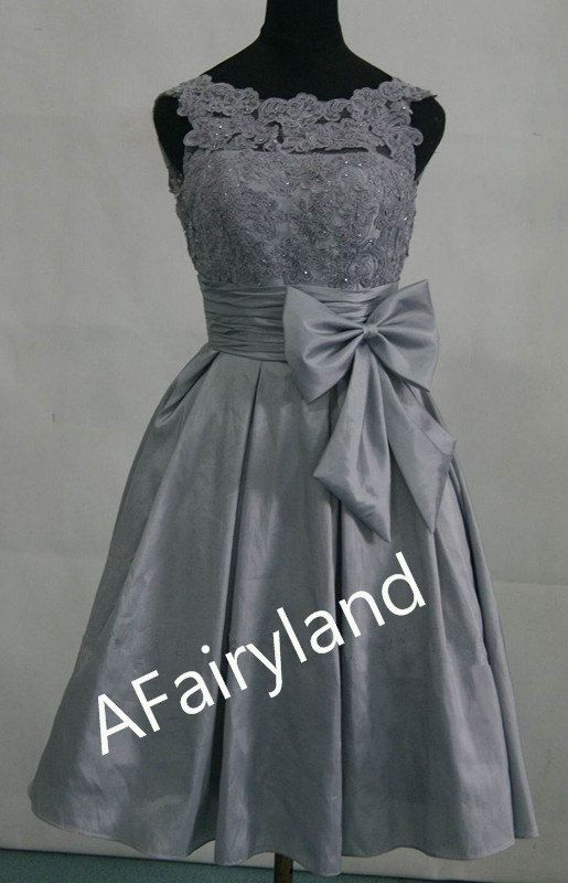Grey lace top bridesmaid dress, sleeveless, sweetheart neckline and waist bow, wedding party, lace taffeta, 2013 new arrival