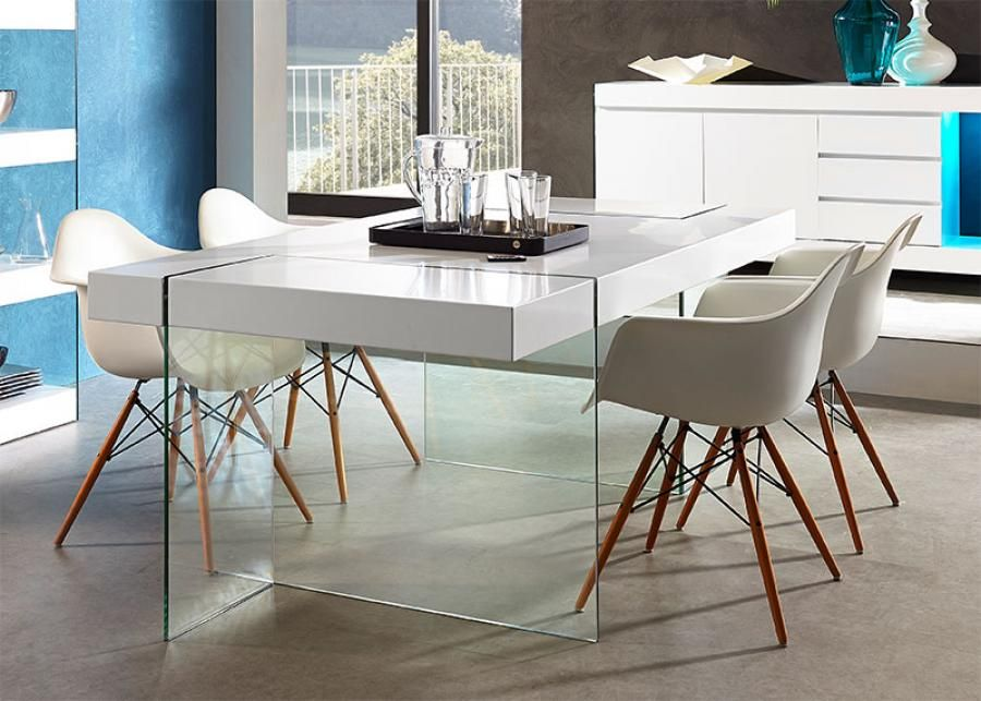 Modern German Furniture Germania Cube Matt White Dining Table With Gl Legs