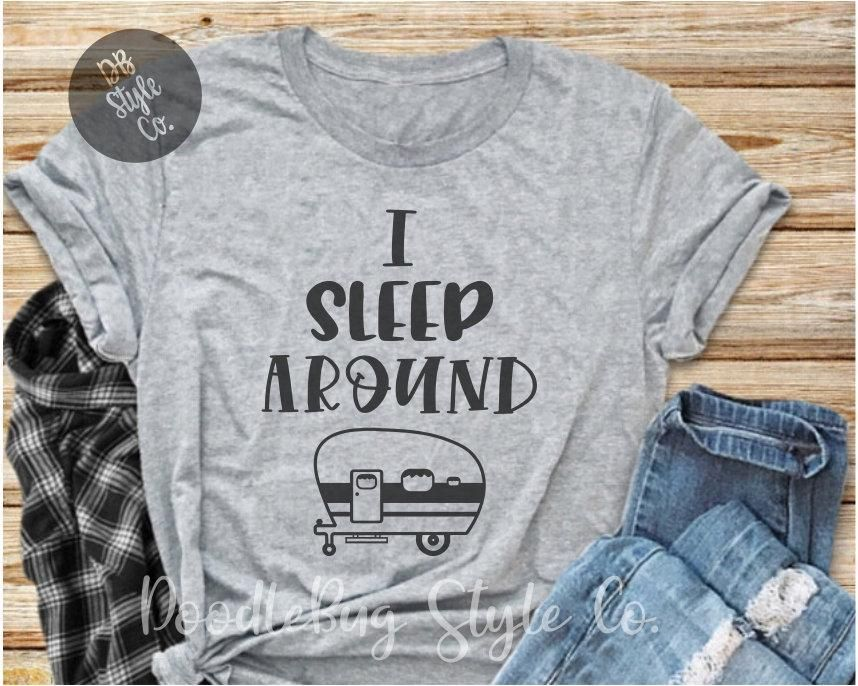 30d92b9519f8 I Sleep Around Funny Unisex Camping T-Shirt