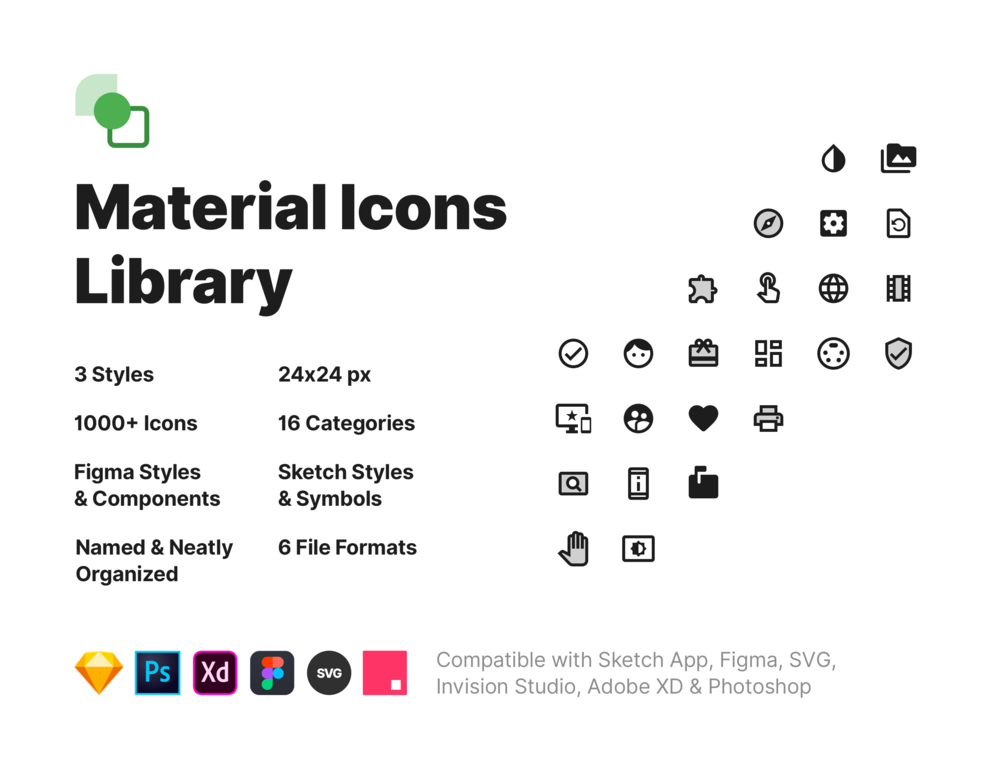 Material Icons Library Sketch App Icon Design Freebie