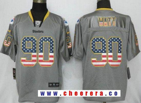 mens pittsburgh steelers 90 t. j. watt gray usa flag fashion stitched nfl nike elite jersey