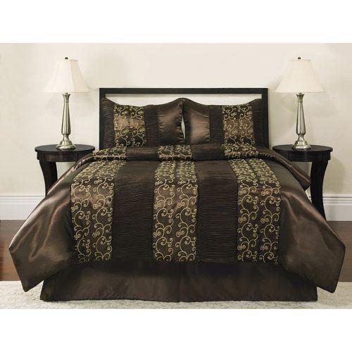 Better Homes Gardens Full Scroll Brown Comforter Set 4 Piece Walmart Com Brown Comforter Sets Comforter Sets Brown Comforter