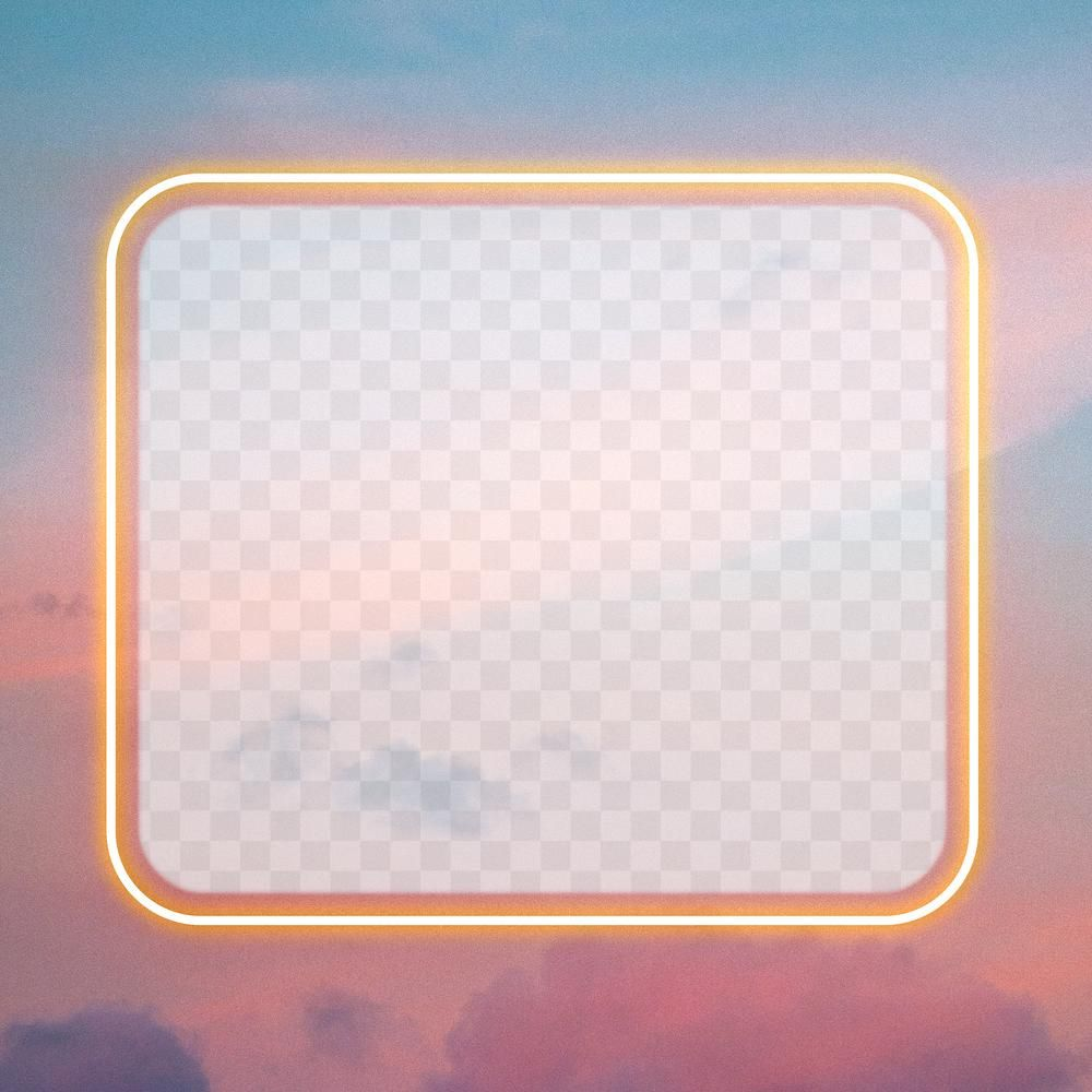 Rectangle Yellow Neon Frame Png On Sky Background Free Image By Rawpixel Com Kwanloy Rectangle Frame Neon Png