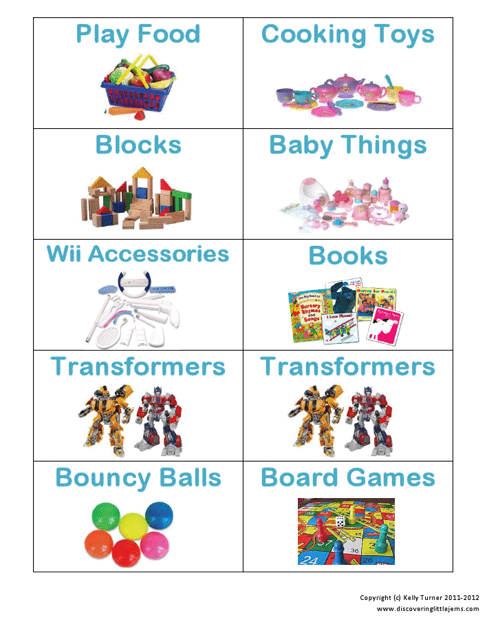 Toy Bin Organizer Kids Childrens Storage Box Playroom: Printable Toy Storage Labels- I Thought This Was A Pretty